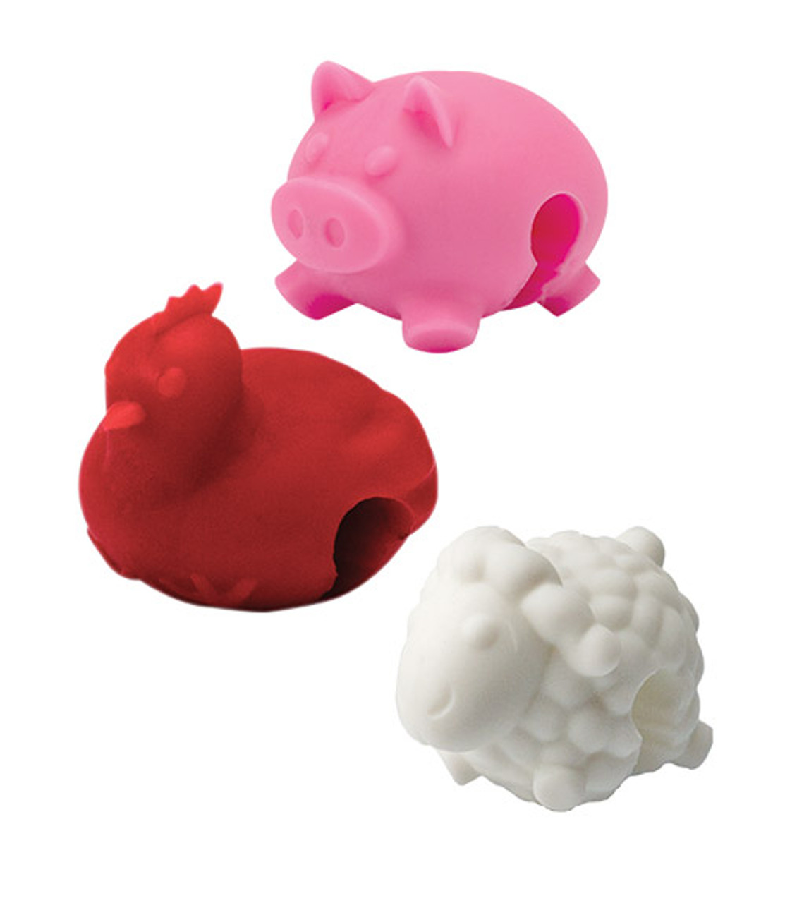 TOVOLO SILICONE LID LIFTERS - SET OF 3 - FARM ANIMALS