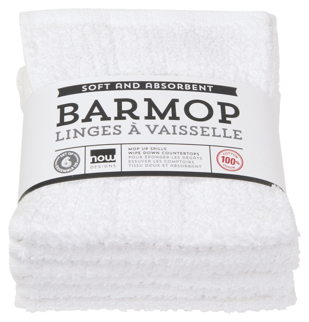 BARMOP TOWEL - WHITE SMALL S/6