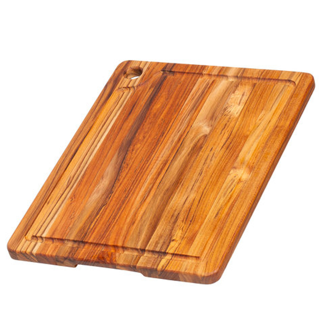 TEAKHAUS CUTTING BOARD CORNER HOLE JUICE GROOVE 18x14