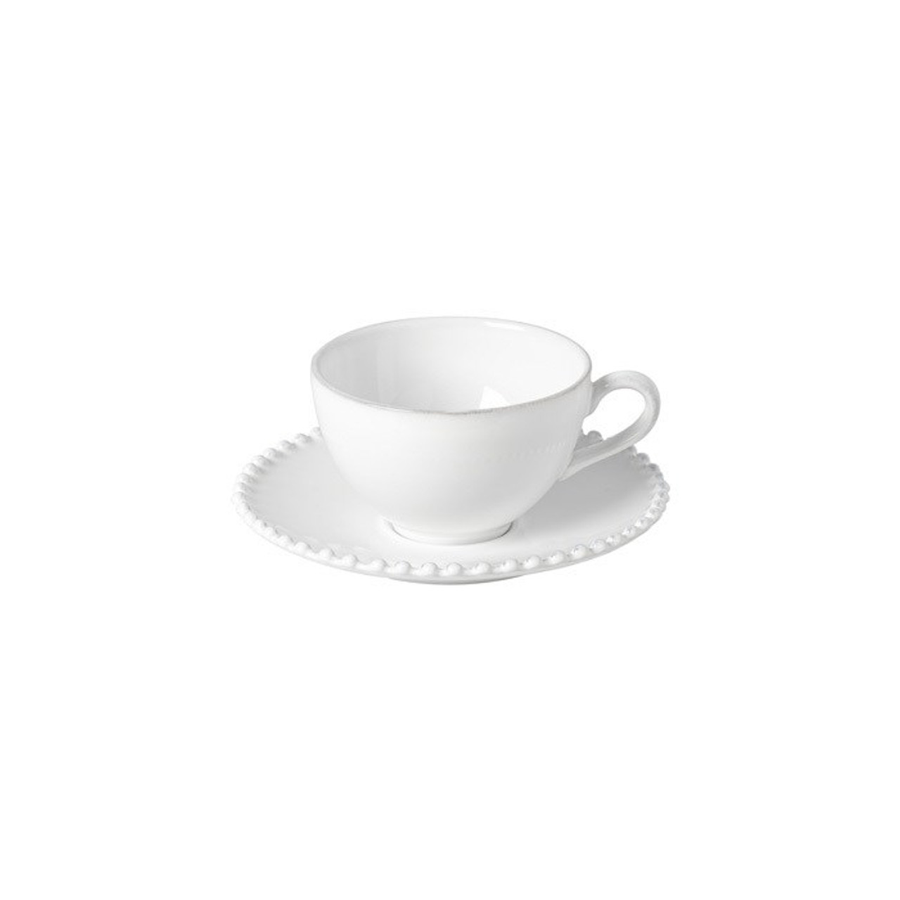 PEARL TEA CUP AND SAUCER 260ml - WHITE