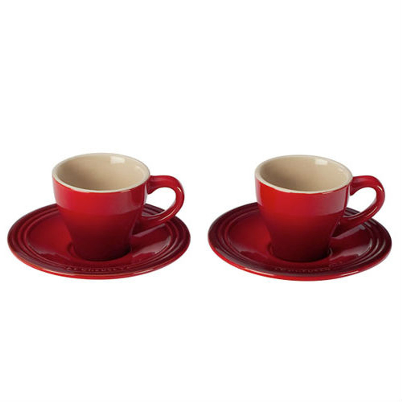 LE CREUSET CLASSIC ESPRESSO CUPS AND SAUCERS - SET OF 2