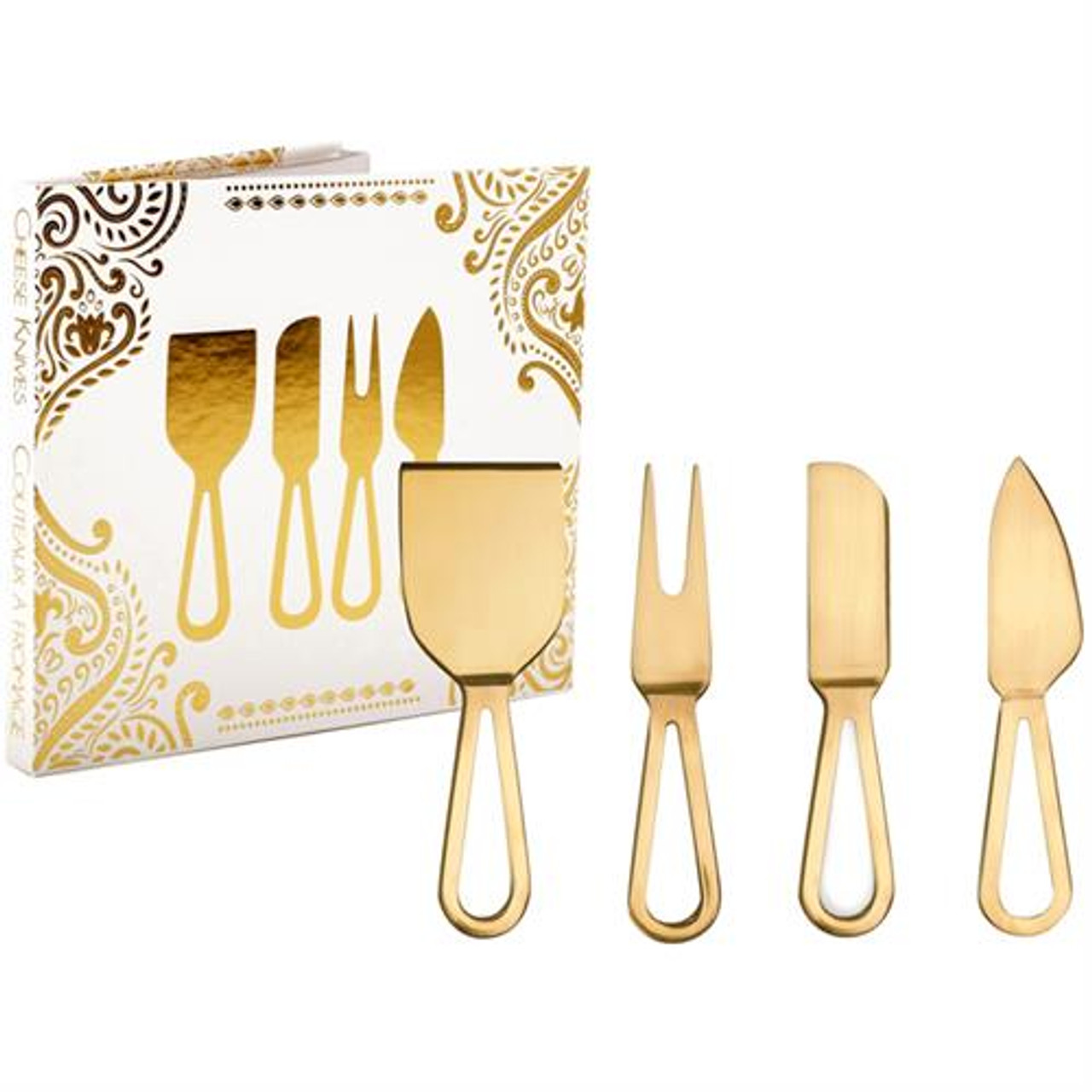 NATURAL LIVING CHEESE KNIFE SET - GOLD SET OF 4