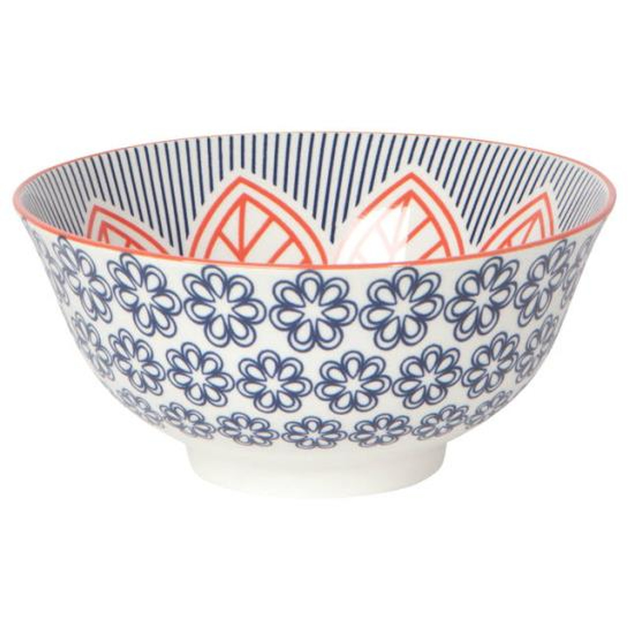 "STAMPED BOWL 6"" - RED FLORAL"