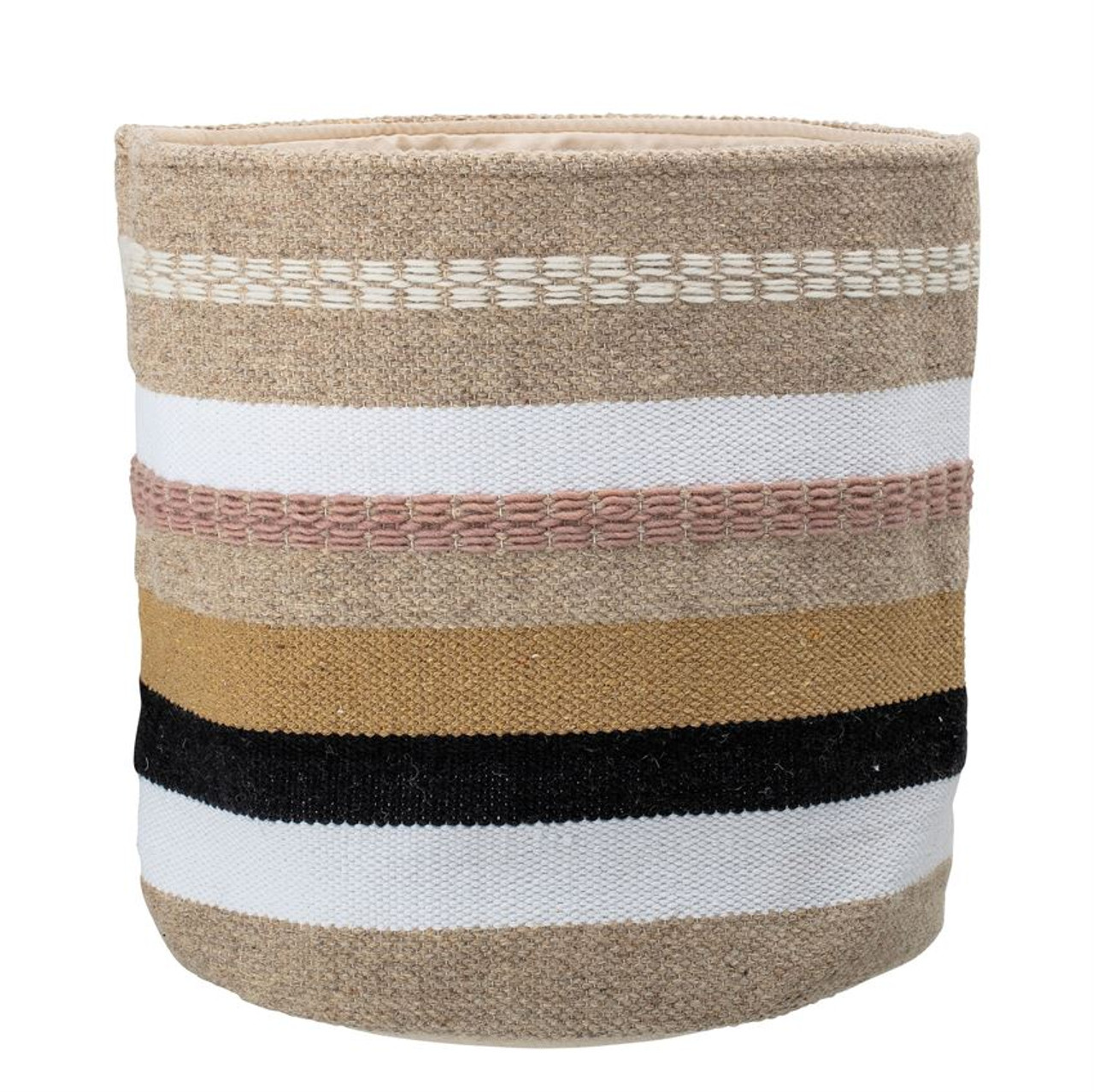 WOVEN WOOL & COTTON BASKET - MULTICOLOUR STRIPES