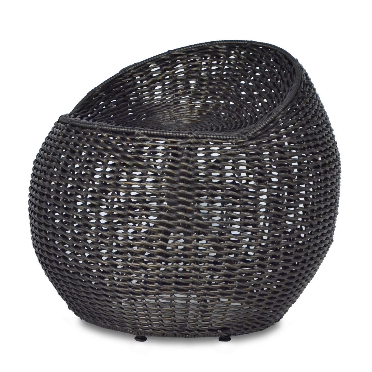 OUTDOOR OPEN WEAVE WICKER SWIVEL STOOL