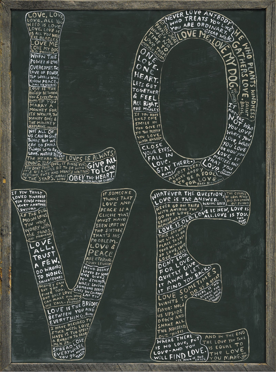 ART PRINT GREY WOOD - L-O-V-E