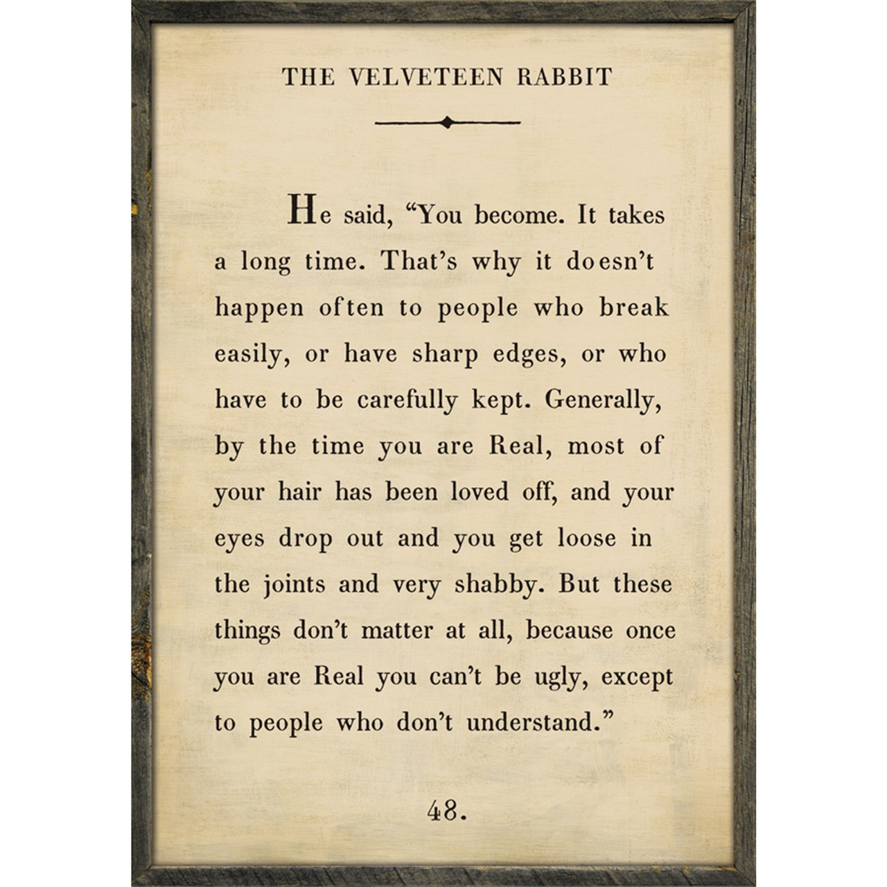 ART PRINT GREY WOOD - VELVETEEN RABBIT