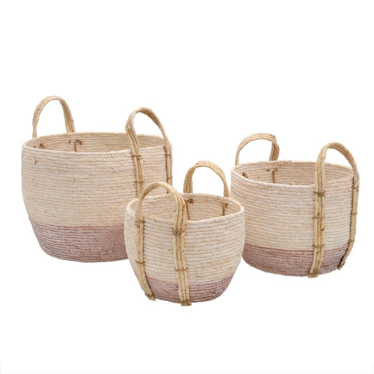 SHORE BASKETS PINK - SET OF 3