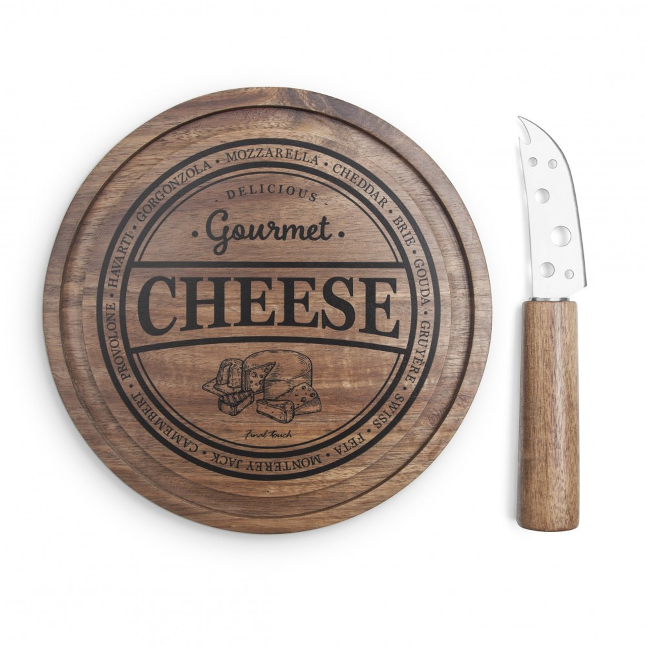 FINAL TOUCH 2 PIECE CHEESE BOARD SET