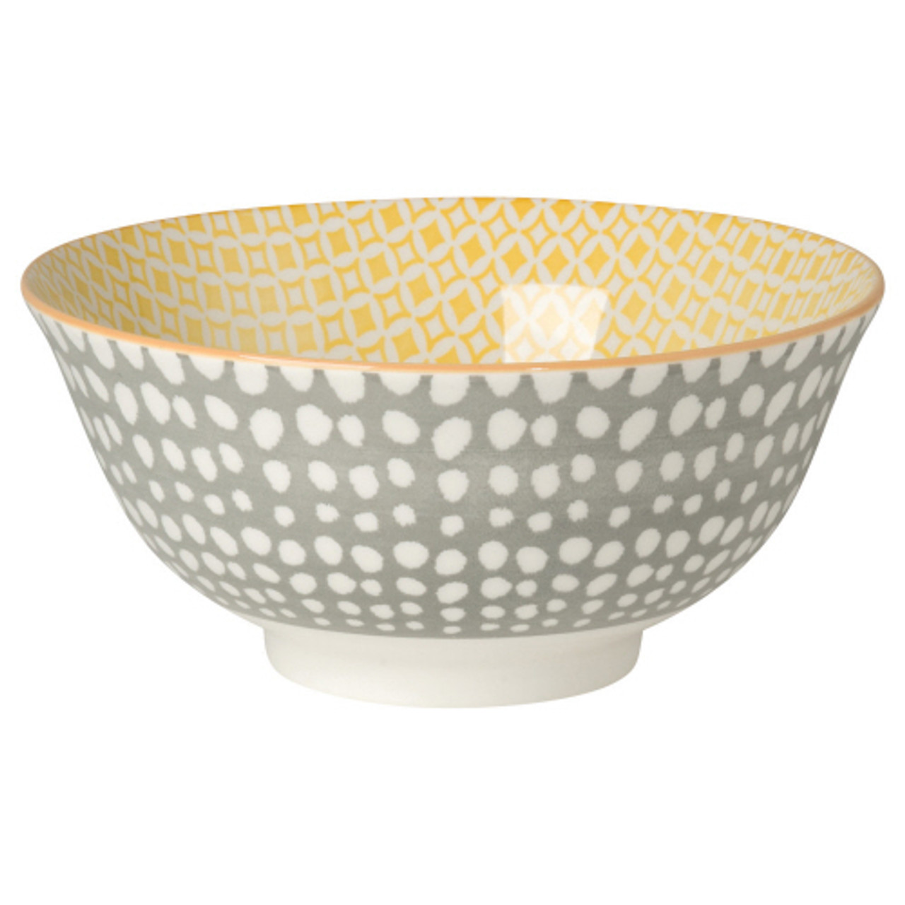 """STAMPED BOWL 6"""" - GRAY DOTS"""