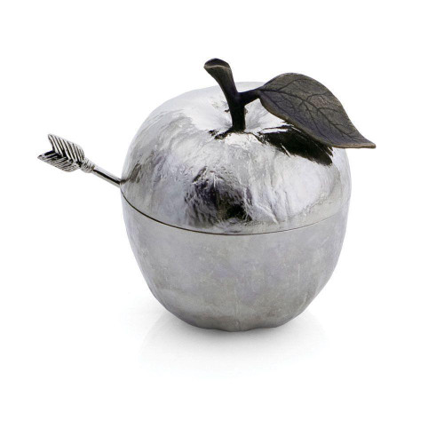 Michael Aram Apple Honey Pot with Spoon Nickelplate