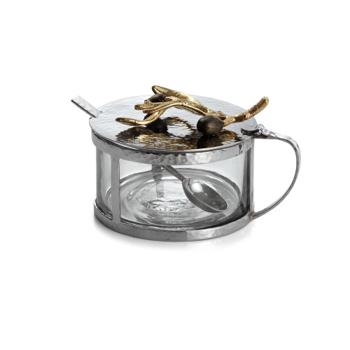 Michael Aram Olive Branch Gold Condiment Container with Spoon