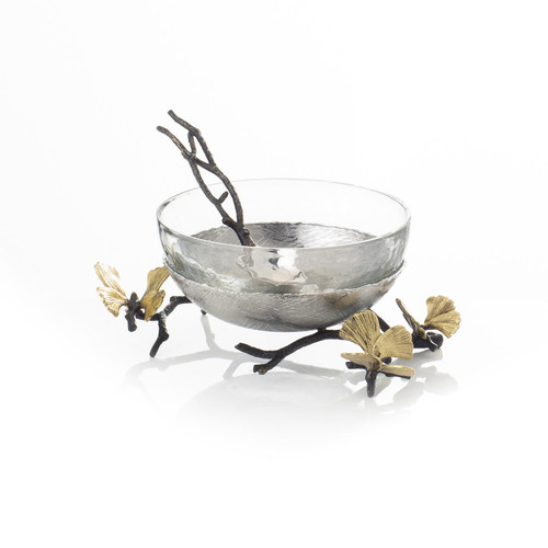 Michael Aram Butterfly Ginkgo Glass Nut Dish with Spoon