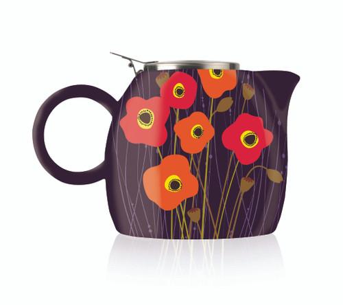 Tea Fortē Poppy Fields PUGG Ceramic Teapot & Infuser - 24 oz.