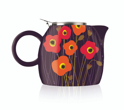 Tea Fortē Poppy Fields PUGG Ceramic Teapot & Infuser - 24 oz.