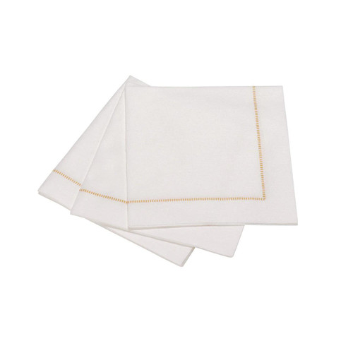 "The Napkins Hemstitch Cocktail Napkins - Gold (10 x 10"")"