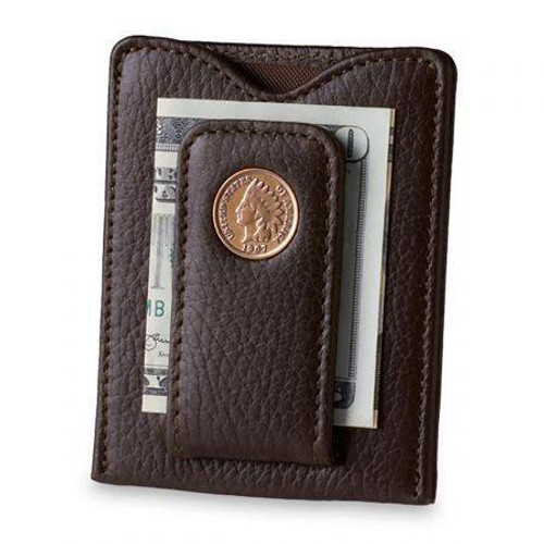 Tokens & Icons Indian Head Penny Money Clip - Brown