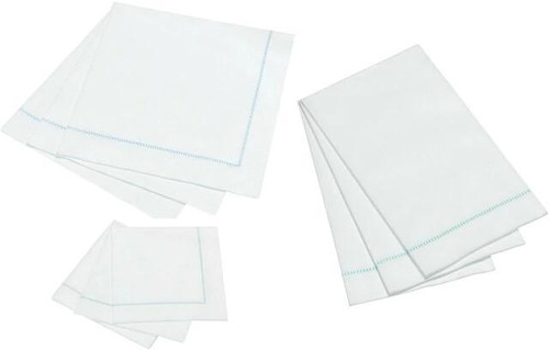 Hemstitch Napkins - Blue Stitch, 25pcs