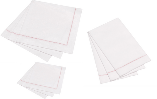 Hemstitch Napkins - Dusty Rose Stitch, 25pcs