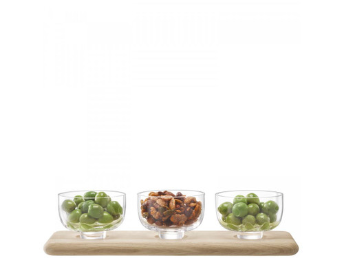 Serve Arch Trio Bowl Set & Oak Base
