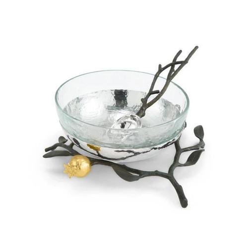 Pomegranate Glass Bowl w/Spoon