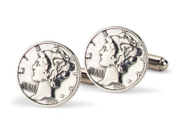 Tokens & Icons Mercury Dime Cuff Links