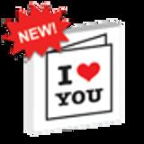 Custom Printed 'I Heart You' Lego Card - White