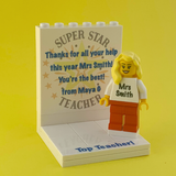 Custom thank you Teacher display with personalised Minifigure and FREE Keyring!