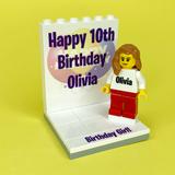 Birthday Display with personalised Minifigure