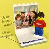 Birthday Photo Display with personalised Minifigure