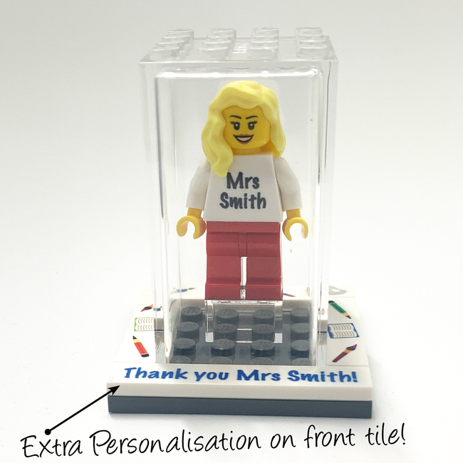 Customised Thank you to My Teacher LEGO display box with a FREE Keyring!