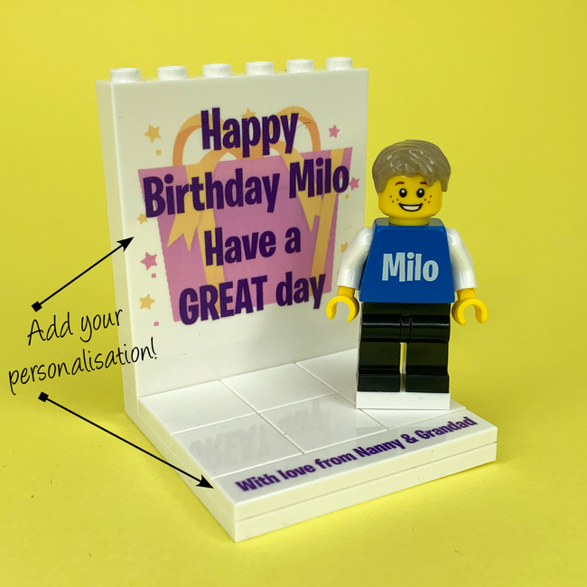 Birthday Display with personalised Minifigure