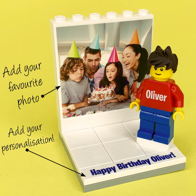 Birthday Photo Display with personalised Minifigure