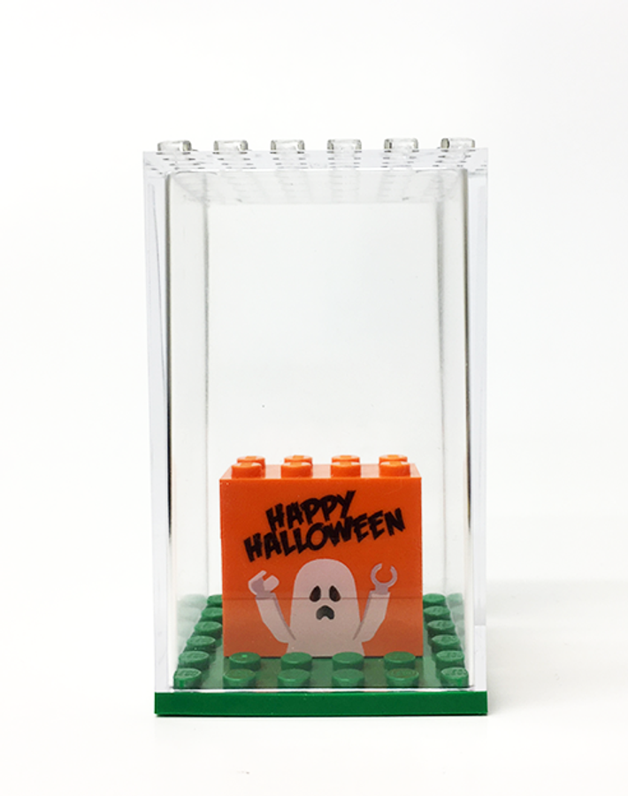 Happy Halloween Display Box with Custom Printed Bricks