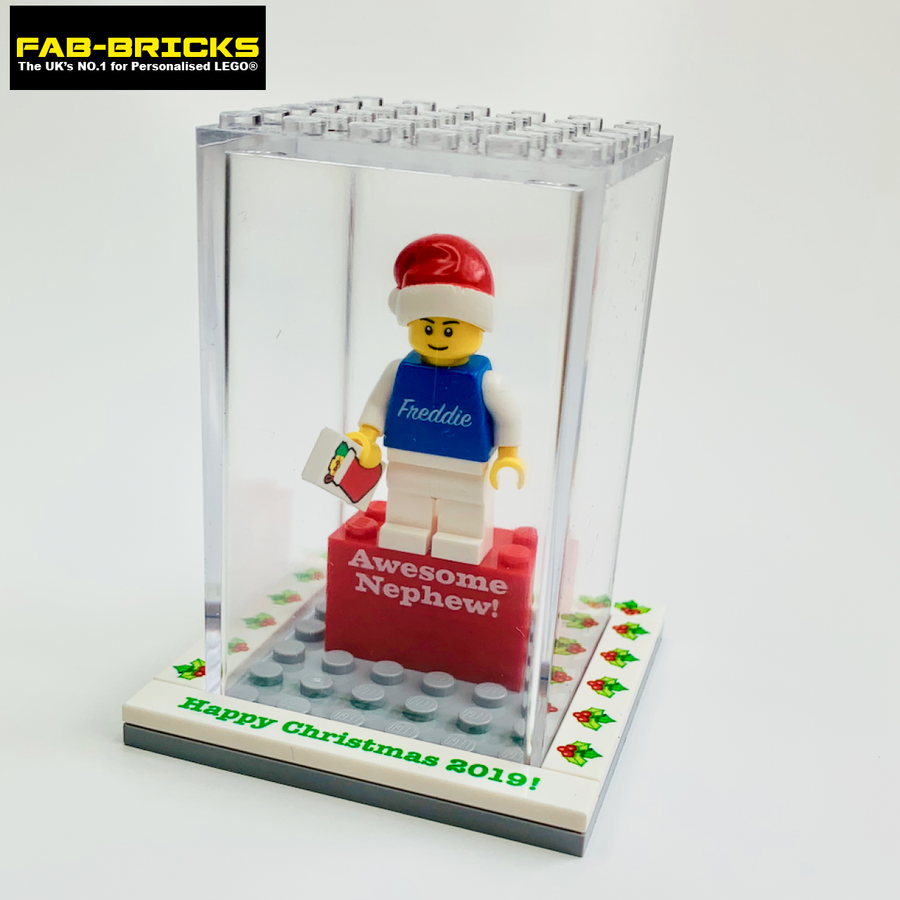 Personalised Happy Christmas Display Box with 1 Mini-Figure and a FREE Christmas Tile!