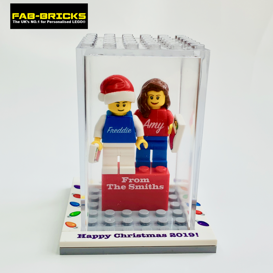Personalised Happy Christmas Display Box with 2 Mini-Figures and a FREE Christmas Tile!