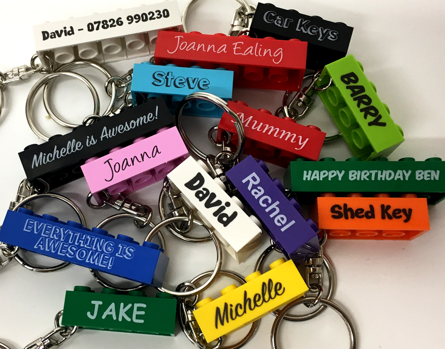 Personalised LEGO Keyrings. Choose your size, from  just £3.75!