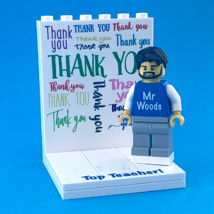 Thank you Teacher display with personalised Minifigure and FREE Keyring!