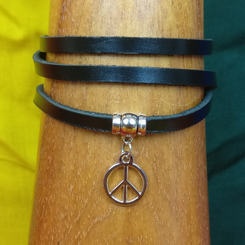 Peace of Mind - Leather Wrap Bracelet - Black