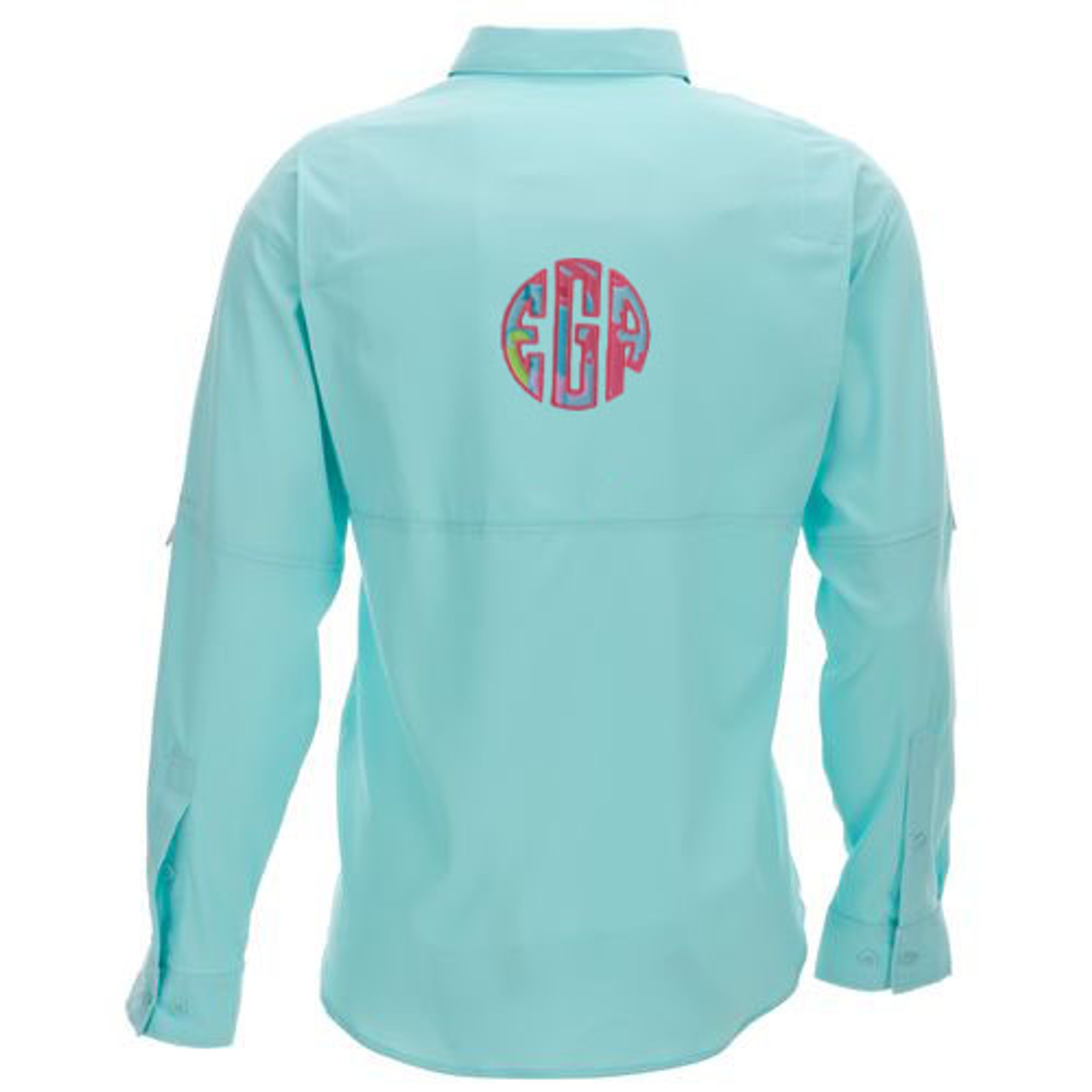 6b57631c83 Lilly Pulitzer Monogrammed PFG Fishing Shirt www.tinytulip.com Checking In  Blue with Coral
