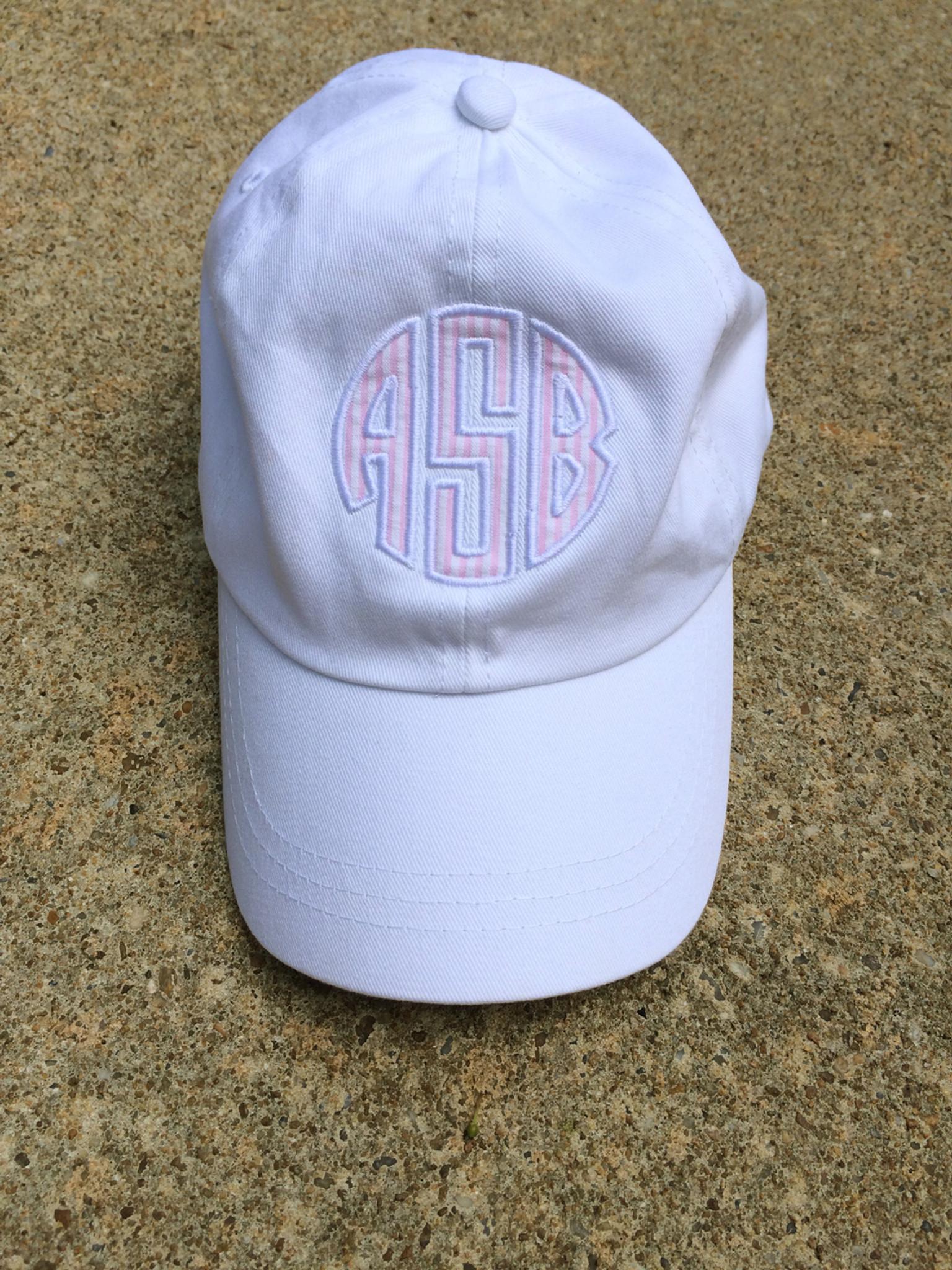 568a77c98bd Monogrammed Seersucker Applique Baseball Hat www.tinytulip.com White Hat  with Pink Seersucker and