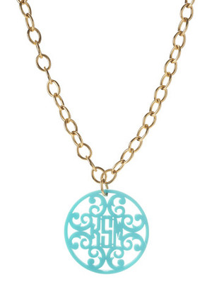 Acrylic Rimmed Filigree Monogrammed Necklace  www.tinytulip.com