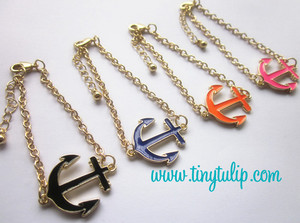 Enamel Anchor Chain Bracelet  Free Shipping  www.tinytulip.com