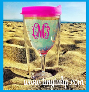 Monogrammed Wine on the Go Sip Tumbler Cups  www.tinytulip.com Hot Pink Lid with Hot Pink Interlocking Font