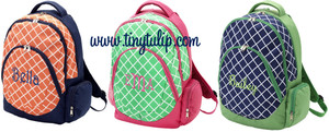 Monogrammed Preppy Tile Pattern Academy Backpack  www.tinytulip.com