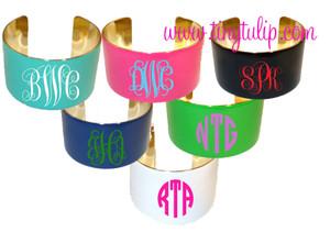 Monogrammed Enameled Cuff Bracelet Free Shipping www.tinytulip.com