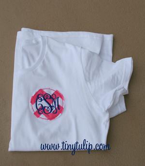 Monogrammed Raggy Chevron Circle T Shirt  www.tinytulip.com