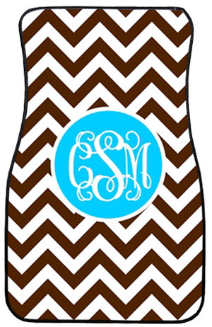 Monogrammed Car Mat Set www.tinytulip.com Brown Chevron with Solid Circle Turquoise Interlocking Font Front Set