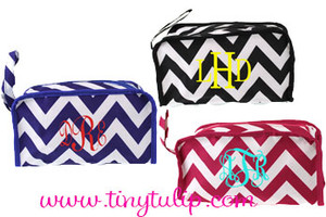 Monogrammed Chevron Cosmetic Travel Bag www.tinytulip.com