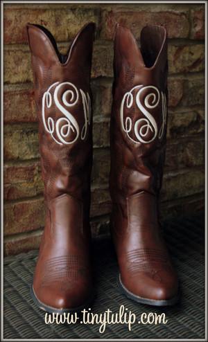 Monogrammed Cowboy Boots  www.tinytulip.com